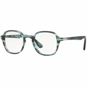Persol Square Style Eyeglasses Striped Grey Color